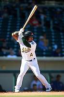 Mesa Solar Sox Franklin Barreto (4), of the Oakland Athletics organization, during a game against the Scottsdale Scorpions on October 21, 2016 at Sloan Park in Mesa, Arizona.  Mesa defeated Scottsdale 4-3.  (Mike Janes/Four Seam Images)