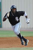 Bristol White Sox center fielder Courtney Hawkins #34 runs to second during a game against the Elizabethton Twins at Joe O'Brien Field on June 25, 2012 in Elizabethton, Tennessee. The Twins defeated the White Sox 9-1. (Tony Farlow/Four Seam Images).