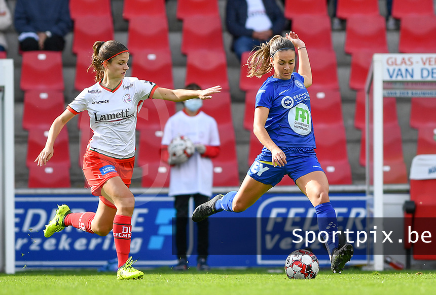 Gent's Elise Meijerinck (23)  pictured with Essevee's Amber De Priester during a female soccer game between Zulte Waregem and the KAA Gent Ladies on the fourth matchday of the 2020 - 2021 season of Belgian Scooore Womens Super League , saturday 10 October 2020  in Waregem , Belgium . PHOTO SPORTPIX.BE   SPP   DAVID CATRY