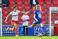 Gent's Elise Meijerinck (23)  pictured with Essevee's Amber De Priester during a female soccer game between Zulte Waregem and the KAA Gent Ladies on the fourth matchday of the 2020 - 2021 season of Belgian Scooore Womens Super League , saturday 10 October 2020  in Waregem , Belgium . PHOTO SPORTPIX.BE | SPP | DAVID CATRY