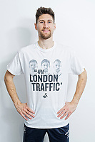 """Pictured: Federico Fernandez wearing one of the t-shirts. Tuesday 27 March 2018<br /> Re: New Swansea City FC t-shirts with messages like """"All The Meat on the Barbecue"""" and 4pm London Traffic"""" at the Fairwood Training Ground near Swansea, Wales, UK"""