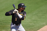 Pittsburgh Pirates Erik Gonzalez (2) bats during a Major League Spring Training game against the Baltimore Orioles on February 28, 2021 at Ed Smith Stadium in Sarasota, Florida.  (Mike Janes/Four Seam Images)