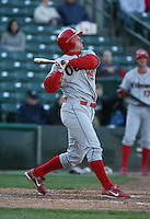 2007:  Jim Rushford of the Ottawa Lynx follows through during an at bat vs. the Rochester Red Wings in International League baseball action.  Photo By Mike Janes/Four Seam Images