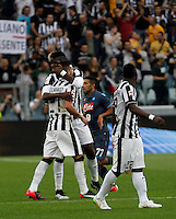 Calcio, Serie A: Juventus vs Napoli. Torino, Juventus Stadium, 23 maggio 2015. <br /> Juventus' Stefano Sturaro, left, is congratulated by teammate Paul Pogba after scoring during the Italian Serie A football match between Juventus and Napoli at Turin's Juventus Stadium, 23 May 2015.<br /> UPDATE IMAGES PRESS/Isabella Bonotto