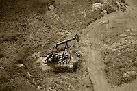 aerial photograph of a pumpjack, oil well, southeastern Wyoming