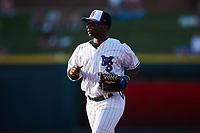 Winston-Salem Dash left fielder E.P. Reese (18) jogs off the field between innings of the game against the Greensboro Grasshoppers at Truist Stadium on June 15, 2021 in Winston-Salem, North Carolina. (Brian Westerholt/Four Seam Images)
