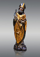 Gothic wooden statue of Sant Nicolau (Nicholas) from Gremany, circa 1500, tempera and gold leaf on wood, from the church of San Miguel de Medina del Campo, Valladolid..  National Museum of Catalan Art, Barcelona, Spain, inv no: MNAC  65507.