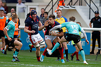 Jonas Mikalcus of London Scottish tackled during the Championship Cup match between London Scottish Football Club and Nottingham Rugby at Richmond Athletic Ground, Richmond, United Kingdom on 28 September 2019. Photo by Carlton Myrie / PRiME Media Images