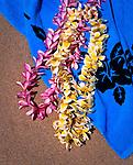 Hawaiian Leis and blue beach towel, Hawaiian Islands