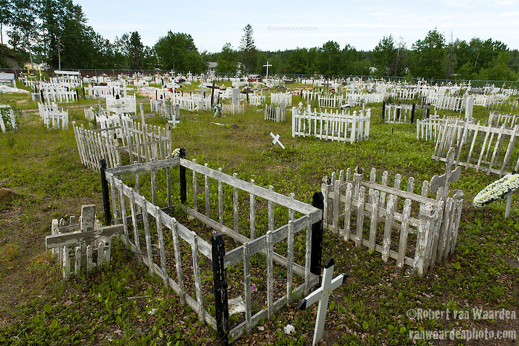 The cemetary in Fort Chipewyan. Since the arrival of the Tar Sands, more cancer is appearing in Fort Chipewyan then in a regular community this size.