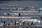 Rowing, Head of the Charles Regatta, Charles River, Cambridge, Massachusetts, New England, USA, crews racing past crews coming off the water after rowing America's largest rowing regatta, Magazine Beach,.