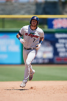 Fort Myers Miracle second baseman Travis Blankenhorn (7) rounds the bases after hitting an eighth inning home run, his second of the game, during a game against the Clearwater Threshers on April 25, 2018 at Spectrum Field in Clearwater, Florida.  Clearwater defeated Fort Myers 9-5.  (Mike Janes/Four Seam Images)