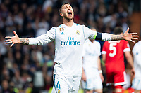 Real Madrid Sergio Ramos during Semi Finals UEFA Champions League match between Real Madrid and Bayern Munich at Santiago Bernabeu Stadium in Madrid, Spain. May 01, 2018.  *** Local Caption *** © pixathlon<br /> Contact: +49-40-22 63 02 60 , info@pixathlon.de
