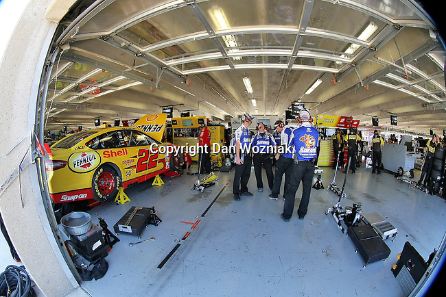 Sprint Cup Series driver Mark Martin (55) team members get ready for him to come into the garage during the Nascar Sprint Cup Series practice session at Texas Motor Speedway in Fort Worth,Texas.