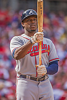 14 April 2013: Atlanta Braves outfielder Justin Upton steps up to the plate during a game against the Washington Nationals at Nationals Park in Washington, DC. The Braves shut out the Nationals 9-0 to sweep their 3-game series. Mandatory Credit: Ed Wolfstein Photo *** RAW (NEF) Image File Available ***