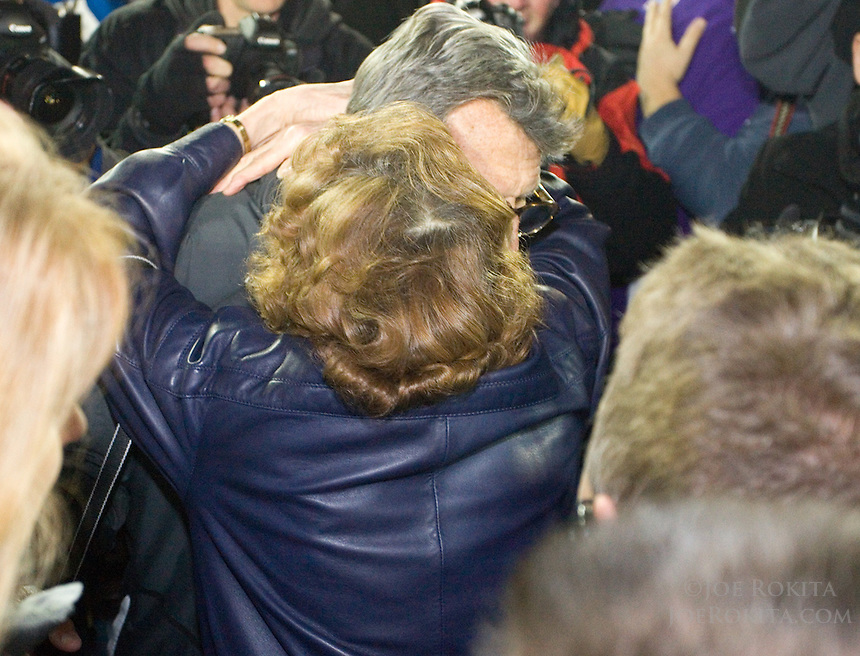 State College, PA - 11/06/2010:  Joe Paterno is greeted by his wife, Sue, after the game.  Despite trailing 21-0 in the first quarter, Penn State defeated Northwestern by a score of 35-21 at Beaver Stadium to give head coach Joe Paterno his 400th career victory...Photo:  Joe Rokita / JoeRokita.com..Photo ©2010 Joe Rokita Photography