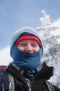 Appalachian Trail - Winter hiker on the Carter-Moriah Trail in winter conditions near the summit of Carter Dome in the White Mountains, New Hampshire USA
