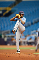 Miguel Lara (10) delivers a pitch during the Tampa Bay Rays Instructional League Intrasquad World Series game on October 3, 2018 at the Tropicana Field in St. Petersburg, Florida.  (Mike Janes/Four Seam Images)