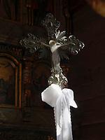 Kreuz in der griechisch-katholischen Holzkirche St. Nikolaus 1658 in Bodruzal, Presovsky kraj, Slowakei, Europa, UNESCO-Weltkulturerbe<br /> cross in greek wooden church St.Nichilas from 1658, Bodruzal, Presovsky kraj, Slovakia, Europe, UNESCO world heritage