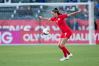 CARSON, CA - FEBRUARY 07: Jordyn Huitema #9 of Canada traps a ball during a game between Canada and Costa Rica at Dignity Health Sports Complex on February 07, 2020 in Carson, California.