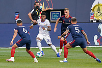 CHICAGO, UNITED STATES - AUGUST 25: Joseph-Claude Gyau #36 of FC Cincinnati dribbles the ball during a game between FC Cincinnati and Chicago Fire at Soldier Field on August 25, 2020 in Chicago, Illinois.