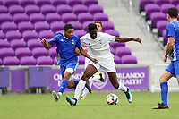 Orlando, Florida - Saturday January 13, 2018: Will Bagrou and Niko DeVera. Match Day 1 of the 2018 adidas MLS Player Combine was held Orlando City Stadium.