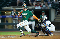 Romy Gonzalez (10) of the Miami Hurricanes follows through on his swing against the North Carolina Tar Heels in the second semifinal of the 2017 ACC Baseball Championship at Louisville Slugger Field on May 27, 2017 in Louisville, Kentucky. The Tar Heels defeated the Hurricanes 12-4. (Brian Westerholt/Four Seam Images)