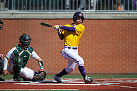 Lane Hoover (4) of the East Carolina Pirates follows through on his swing against the Charlotte 49ers at Hayes Stadium on March 8, 2020 in Charlotte, North Carolina. The Pirates defeated the 49ers 4-1. (Brian Westerholt/Four Seam Images)