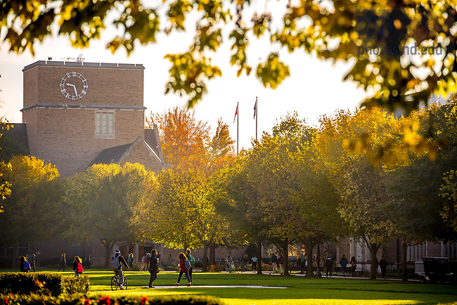 October 26, 2017; O'Shaughnessy Hall clock tower and South Quad (Photo by Matt Cashore/University of Notre Dame)