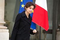 AUDREY AZOULAY , MINISTRE DE LA CULTURE QUITTE LE PALAIS DE L'ELYSEE APRES LE CONSEIL DES MINISTRES DU 11 JANVIER 2017 A PARIS.