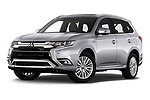 Stock pictures of low aggressive front three quarter view of 2020 Mitsubishi Outlander-PHEV Instyle 5 Door SUV Low Aggressive