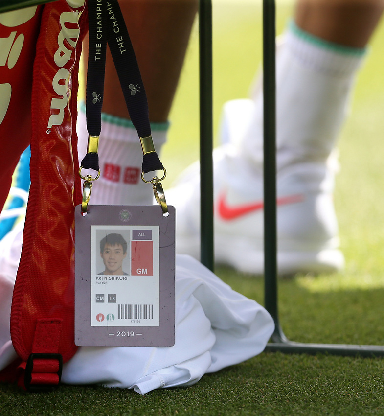 The pass of Kei Nishikori (JPN) during his match against Thiago Monteiro (BRA) in their Gentleman's Singles First Round match<br /> <br /> Photographer Rob Newell/CameraSport<br /> <br /> Wimbledon Lawn Tennis Championships - Day 2 - Tuesday 2nd July 2019 -  All England Lawn Tennis and Croquet Club - Wimbledon - London - England<br /> <br /> World Copyright © 2019 CameraSport. All rights reserved. 43 Linden Ave. Countesthorpe. Leicester. England. LE8 5PG - Tel: +44 (0) 116 277 4147 - admin@camerasport.com - www.camerasport.com