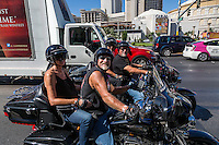 Las Vegas, Nevada.  Two Couples Motorcycling on The Strip.