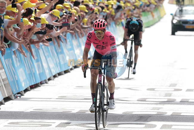 Neilson Powless (USA) EF Education-Nippo crosses the finish line at the end of Stage 15 of the 2021 Tour de France, running 191.3km from Céret to Andorre-La-Vieille, Andorra. 11th July 2021.  <br /> Picture: Colin Flockton | Cyclefile<br /> <br /> All photos usage must carry mandatory copyright credit (© Cyclefile | Colin Flockton)