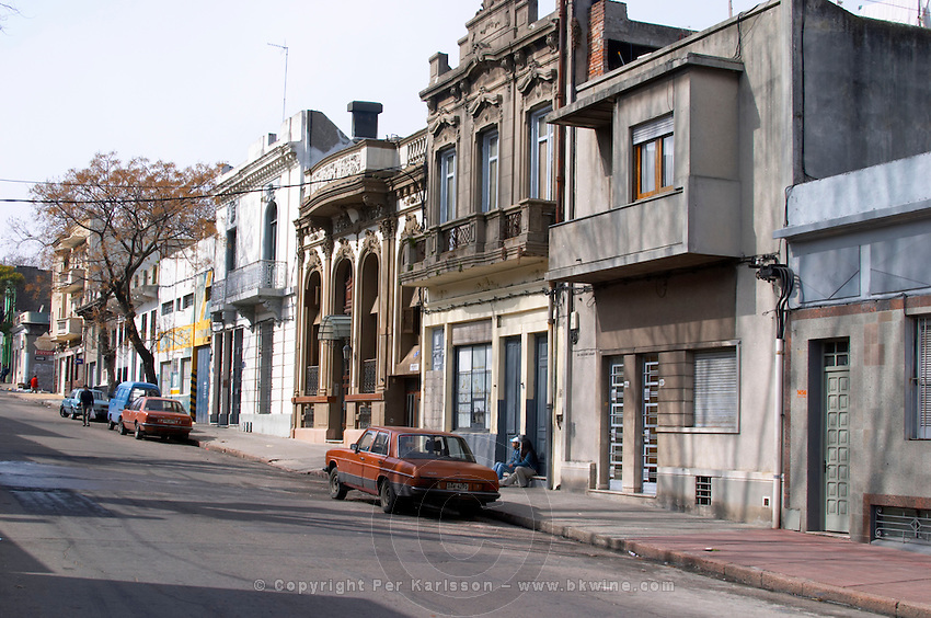 A street in central Montevideo with typical town houses in late 19 century style Montevideo, Uruguay, South America