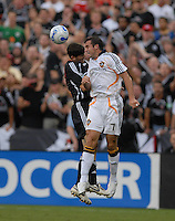Los Angeles Galaxy defender Chris Klein (7) and DC United midfielder Joshua Gros (17) go up for a header. DC United defeated Los Angeles Galaxy 1-0,  at RFK Stadium Washington DC, Thursday August 9, 2007.