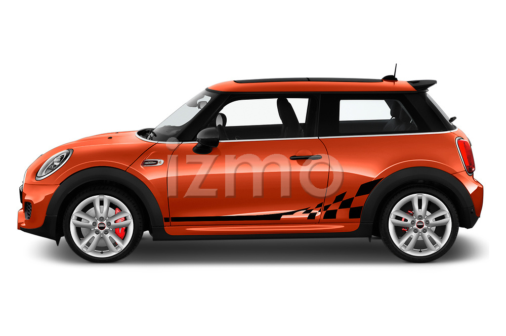 Car Driver side profile view of a 2019 MINI Hardtop-2-Door John-Cooper-Works-Iconic 5 Door Hatchback Side View