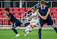 WASHINGTON, DC - SEPTEMBER 6: Maryland midfielder Caden Stafford (10) takes a shot during a game between University of Virginia and University of Maryland at Audi Field on September 6, 2021 in Washington, DC.