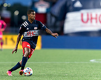 FOXBOROUGH, MA - AUGUST 18: Maciel #13 of New England Revolution dribbles during a game between D.C. United and New England Revolution at Gillette Stadium on August 18, 2021 in Foxborough, Massachusetts.