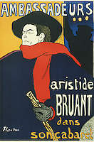 Henri de Toulouse-Lautrec (French, 1864-1901). Aristide Bruant dans son cabaret 1892. Lithographed poster.