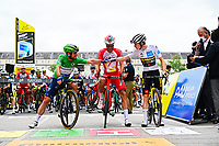 15th July 2021; Luz Ardiden, Hautes-Pyrénées department, France;  PEREZ Anthony (FRA) of COFIDIS and CAVENDISH Mark (GBR) of DECEUNINCK - QUICK-STEP and VINGEGAARD Jonas (DEN) of JUMBO - VISMA during stage 18 of the 108th edition of the 2021 Tour de France cycling race, a stage of 129,7 kms between Pau and Luz Ardiden.