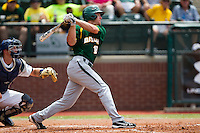 Baylor Bears third baseman Cal Towey #18 swings during the NCAA Regional baseball game against Oral Roberts University on June 3, 2012 at Baylor Ball Park in Waco, Texas. Baylor defeated Oral Roberts 5-2. (Andrew Woolley/Four Seam Images)