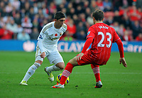 Saturday 10 November 2012<br /> Pictured L-R: Pablo Hernandez of Swansea against Luke Shaw of Southampton <br /> Re: Barclay's Premier League, Southampton FC v Swansea City FC at St Mary's Stadium, Southampton, UK.