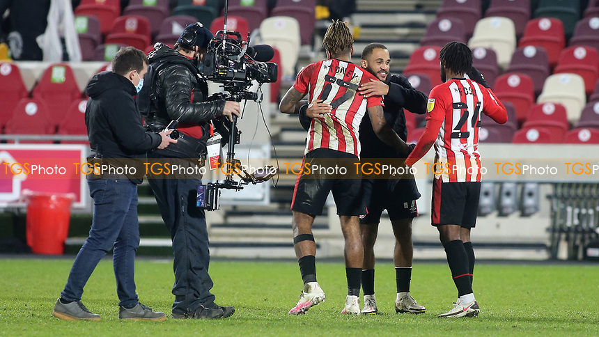 Sky TV Cameras follow Brentford's Ivan Toney and Tariqe Fosu at the final whistle during Brentford vs AFC Bournemouth, Sky Bet EFL Championship Football at the Brentford Community Stadium on 30th December 2020