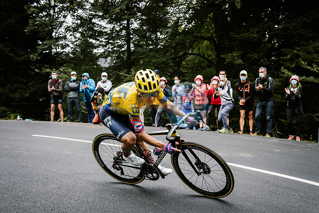 Colombian Champion Sergio Andres Higuita (COL) EF Pro Cycling descends during Stage 9 of Tour de France 2020, running 153km from Pau to Laruns, France. 6th September 2020. <br /> Picture: ASO/Pauline Ballet | Cyclefile<br /> All photos usage must carry mandatory copyright credit (© Cyclefile | ASO/Pauline Ballet)