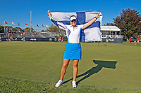 6th September 2021: Toledo, Ohio, USA;  Matilda Castern of Team Europe celebrates after making a putt on the 18th hole for Europe to retain the cup during the Solheim Cup on September 6, 2021 at Inverness Club in Toledo, Ohio.