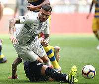 Calcio, Serie A: Inter Milano-Parma, Giuseppe Meazza stadium, September 15, 2018.<br /> Inter's Mauro Icardi (r) in action with Parma's goalkeeper Luigi Sepe (l) iduring the Italian Serie A football match between Inter and Parma at Giuseppe Meazza (San Siro) stadium, September 15, 2018.<br /> UPDATE IMAGES PRESS/Isabella Bonotto