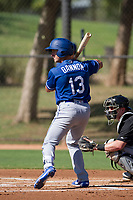 Rylan Bannon (13) of the Los Angeles Dodgers at bat during an Instructional League game against the Chicago White Sox on September 30, 2017 at Camelback Ranch in Glendale, Arizona. (Zachary Lucy/Four Seam Images)