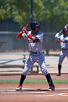 AZL Indians Red Yordys Valdes (10) at bat during an Arizona League game against the AZL Indians Blue on July 7, 2019 at the Cleveland Indians Spring Training Complex in Goodyear, Arizona. The AZL Indians Blue defeated the AZL Indians Red 5-4. (Zachary Lucy/Four Seam Images)