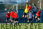 Goalmouth action as St Brendans Park keeper Dimitar Dimitriou rises to clear another inbound effort from St Marys of Cork in the FAI Youths Cup in Christy Leahy Park on Sunday.